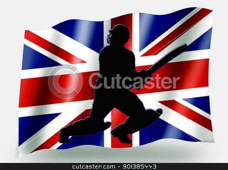 Country Flag Sport Icon Silhouette  UK Cricket Batsman stock photo, Country Flag Sport Icon Silhouette Series  UK Cricket Batsman by Snap2Art