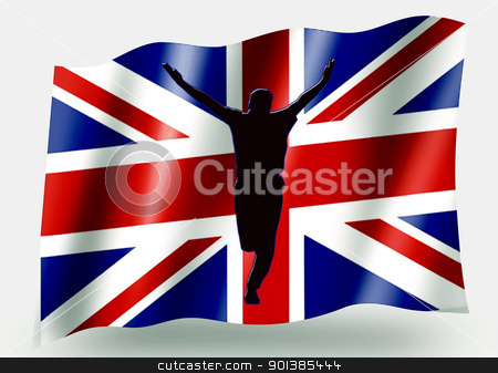 Country Flag Sport Icon Silhouette  UK Cricket Bowled stock photo, Country Flag Sport Icon Silhouette Series  UK Cricket Bowled by Snap2Art