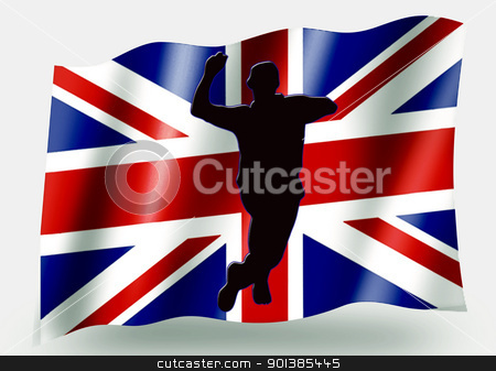 Country Flag Sport Icon Silhouette  UK Cricket Bowling stock photo, Country Flag Sport Icon Silhouette Series  UK Cricket Bowling by Snap2Art