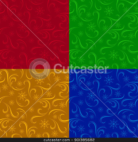 Winter seamless backgrounds stock photo, Four Winter seamless pattern. Christmas backgrounds for design by dvarg