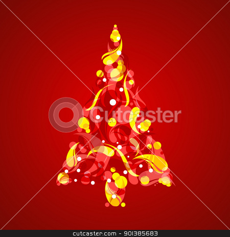 Abstract Christmas Tree stock photo, Abstract Christmas Tree. Illustration on red background  by dvarg