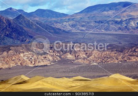 Mesquite Flat Dunes Grapevine Mountains Death Valley National Pa stock photo, Mesquite Flat Dunes Grapevine Mountains Death Valley National Park California 190 Highway by William Perry