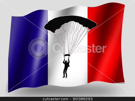Country Flag Sport Icon Silhouette French Parachuting stock photo, Country Flag Sport Icon Silhouette Series  French Parachuting by Snap2Art