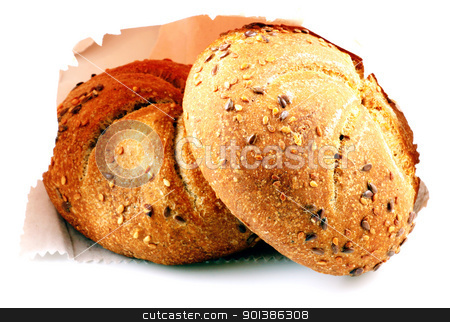 Fresh bread isolated on white background stock photo, Fresh bread isolated on white background by Nenov Brothers Images