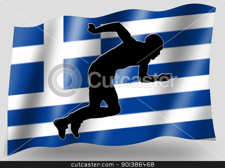Country Flag Sport Icon Silhouette Greece Athletics stock photo, Country Flag Sport Icon Silhouette Series  Greece Athletics by Snap2Art