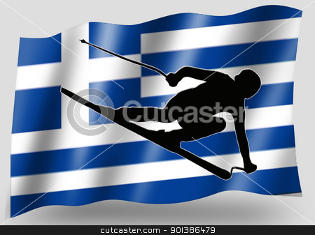 Country Flag Sport Icon Silhouette Greece Ski stock photo, Country Flag Sport Icon Silhouette Series  Greece Skiing by Snap2Art