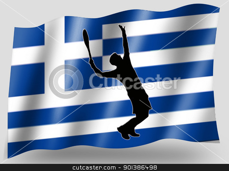Country Flag Sport Icon Silhouette Greece Tennis stock photo, Country Flag Sport Icon Silhouette Series  Greece Tennis by Snap2Art