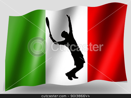 Country Flag Sport Icon Silhouette Italian Tennis stock photo, Country Flag Sport Icon Silhouette Series  Italian Tennis by Snap2Art