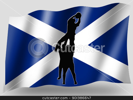 Country Flag Sport Icon Silhouette Scottish Rugby Lineout stock photo, Country Flag Sport Icon Silhouette Series  Scottish Rugby Lineout by Snap2Art