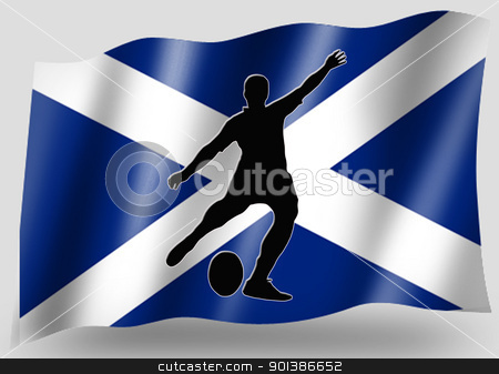Country Flag Sport Icon Silhouette Scottish Rugby Place Kicker stock photo, Country Flag Sport Icon Silhouette Series  Scottish Rugby Place Kick by Snap2Art