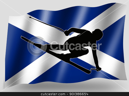 Country Flag Sport Icon Silhouette Scottish Ski stock photo, Country Flag Sport Icon Silhouette Series  Scottish Skiing by Snap2Art