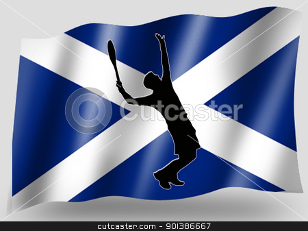 Country Flag Sport Icon Silhouette Scottish Tennis stock photo, Country Flag Sport Icon Silhouette Series  Scottish Tennis by Snap2Art