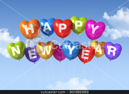 happy new year heart shaped balloons stock photo, colored Happy new year heart shaped balloons floating in a blue sky by Laurent Davoust