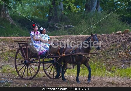 Gaucho festival stock photo, TACUAREMBO, URUGUAY - MAR 5 : Participants in the annual festival