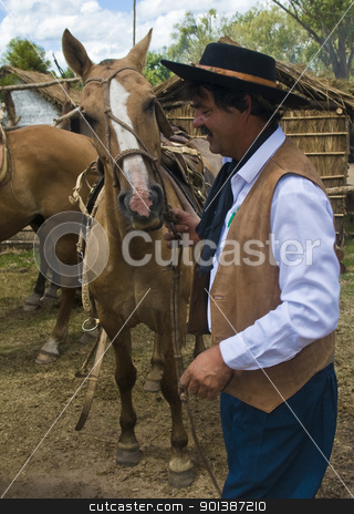 Gaucho festival stock photo, TACUAREMBO, URUGUAY - MAR 5 : Participant in the annual festival