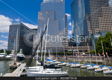 New York marina stock photo, NEW YORK -  JUNE 30 2011 : Yachts at the Hudson river in New York city , USA by Kobby Dagan