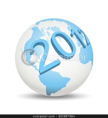 2012 on globe stock photo, An illustration of 3d year 2012 on globe by Sreedhar Yedlapati