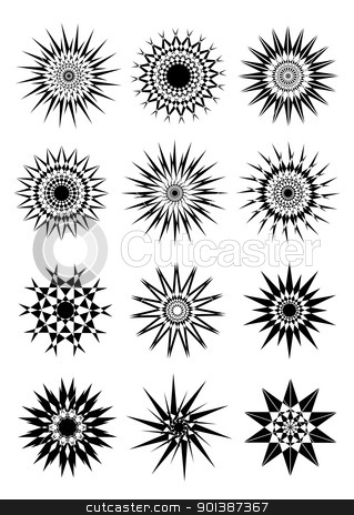 Design elements stock photo, Set of twelve circular design elements on white background by Sreedhar Yedlapati