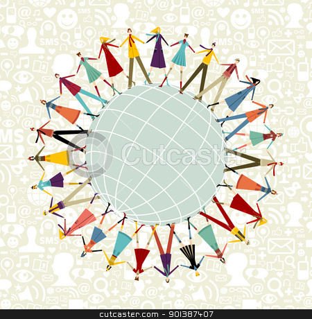 World social media network around the world stock vector clipart, Social media network connection concept, with social icons pattern background by Cienpies Design