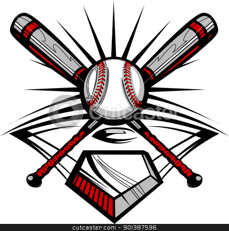 Baseball or Softball Crossed Bats with Ball Vector Image Templat stock vector clipart, Vector Template of a Softball Bats, Baseball, and Home Plate Graphic by chromaco