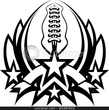 Football Vector Graphic Template with Stars stock vector clipart, Graphic Template of American Football Vector Graphic by chromaco