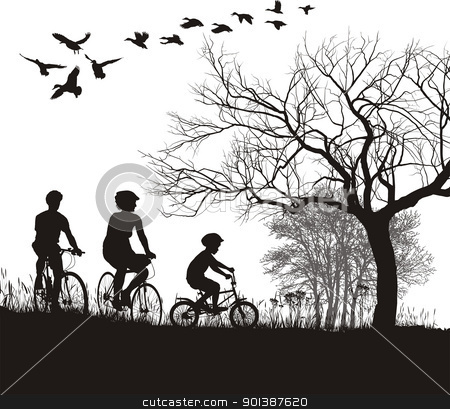 Family cycling in the countryside stock vector clipart, illustration of women, men and boys on bicycles in the countryside by Vladim?