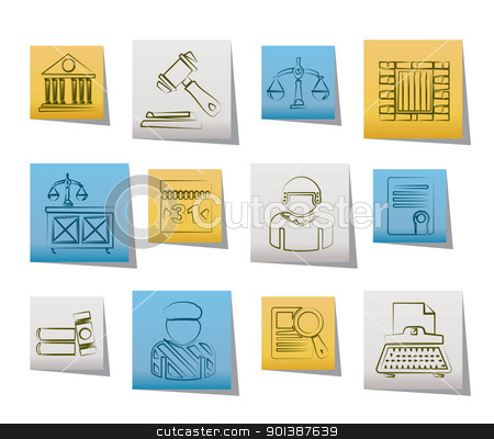 Justice and Judicial System icons  stock vector clipart, Justice and Judicial System icons - vector icon set by Stoyan Haytov