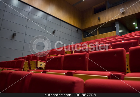 Control room of a theater stock photo, The interior of a theater, control room, and seats by Tito Wong