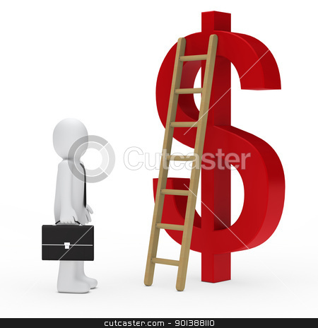 business man ladder dollar red stock photo, 3d business man tie ladder dollar red by d3images