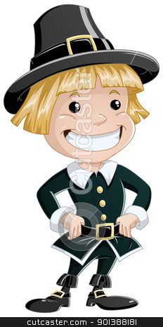 Settler Boy For Thanksgiving stock vector clipart, A vector illustration of a settler boy wearing traditional clothes for Thanksgiving. by Liron Peer