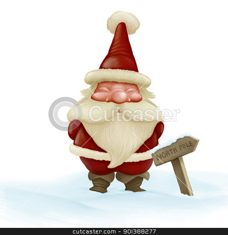 Santa Claus  stock photo, Santa Claus in the snow near the north pole arrow way by Giordano Aita