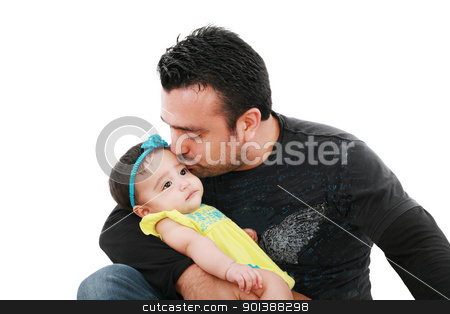 Happy father kissing his daughter on white  stock photo, Happy father kissing his daughter on white  by dacasdo