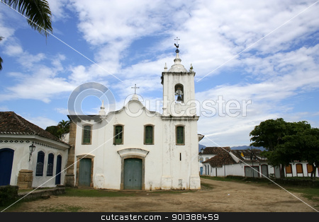 Ancient Church in Parati stock photo, Ancient church in the UNESCO protected town of Parati, Rio de Janeiro, Brazil. by Michael Osterrieder