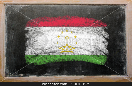 flag of tajikistan on blackboard painted with chalk   stock photo, Chalky tajikistan flag painted with color chalk on old blackboard by Vedran Vukoja