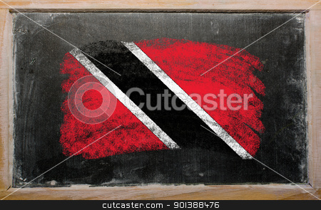 flag of trinidad and tobago on blackboard painted with chalk   stock photo, Chalky trinidad and tobago flag painted with color chalk on old blackboard by Vedran Vukoja 