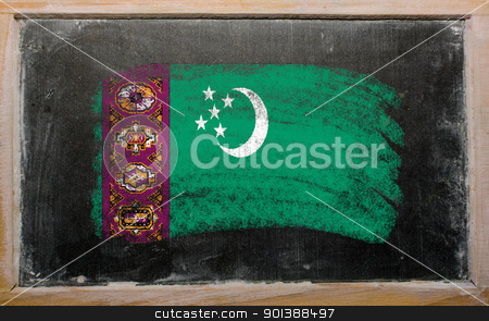 flag of turkmenistan on blackboard painted with chalk   stock photo, Chalky turkmenistan flag painted with color chalk on old blackboard by Vedran Vukoja 