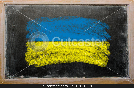 flag of ukraine on blackboard painted with chalk   stock photo, Chalky ukrainian flag painted with color chalk on old blackboard by Vedran Vukoja 