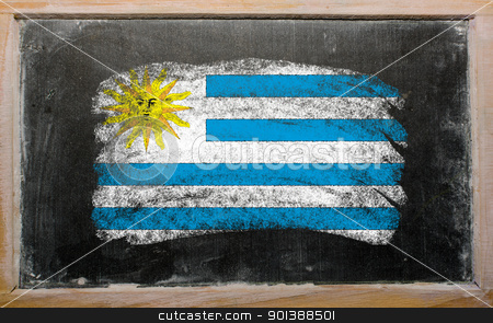 flag of uruguay on blackboard painted with chalk   stock photo, Chalky uruguay flag painted with color chalk on old blackboard by Vedran Vukoja