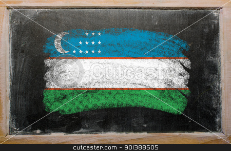 flag of uzbekistan on blackboard painted with chalk   stock photo, Chalky uzbekistan flag painted with color chalk on old blackboard by Vedran Vukoja
