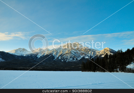 Illuminated winter landscape by the sun stock photo, Illuminated winter landscape by the sun with blue sky by Ulrich Schade