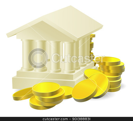 Banking concept stock vector clipart, Illustration of a stylised bank building surrounded by large gold coins by Christos Georghiou