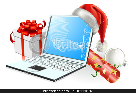 Christmas laptop computer stock vector clipart, Christmas laptop computer with Santa hat, gift cracker and bauble by Christos Georghiou