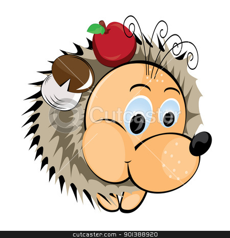 Hedgehog with apple and mushroom stock photo, Hedgehog with apple and mushroom. Illustration on white background by dvarg