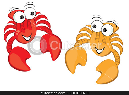 Two funny cartoon crab stock photo, Two funny cartoon crab. Illustration isolated on white background by dvarg