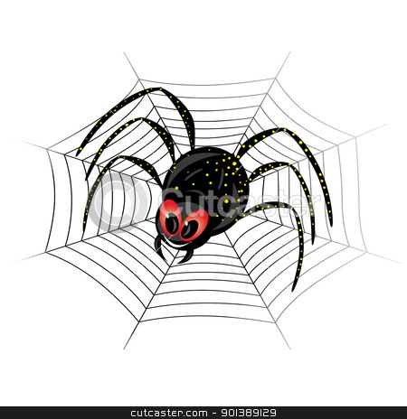 Cute spider on web stock photo, Illustration of cute black widow Spider on web by dvarg