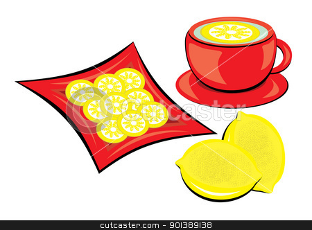 Tea with lemon stock photo, Tea with lemon in mug on white background. by dvarg