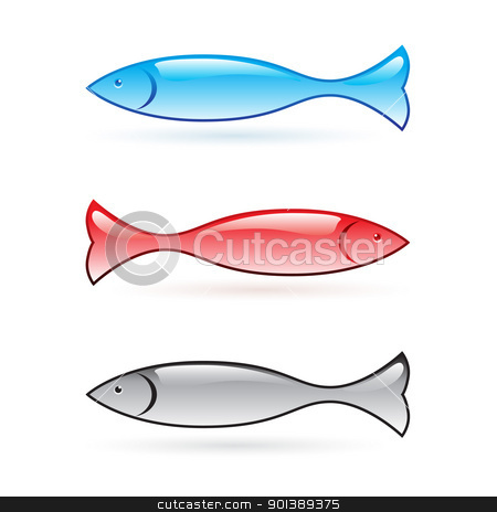 Abstract fish. stock photo, Abstract fish set. Vector illustration on white background by dvarg