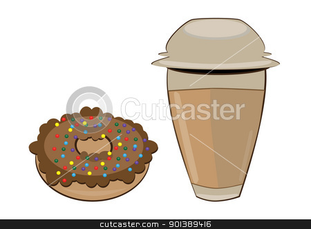 Coffee in a styrofoam cup and donut stock photo, Coffee in a styrofoam cup and donut. Vector illustration on white background by dvarg