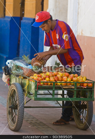 Colombian fruit seller stock photo, CARTAGENA DE INDIAS , COLOMBIA - DEC 20:Unidentified colombian man sell fruits in the street in Cartagena de Indias on December 20 2010 by Kobby Dagan