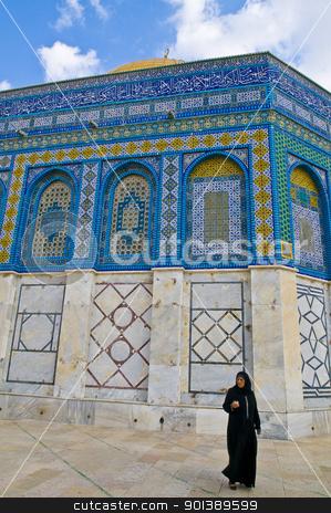 Dome of the rock stock photo, JERUSALEM - NOV 03 : Palestinian woman near the